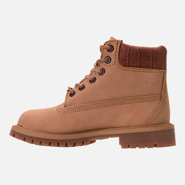 Left view of Boys' Preschool Timberland Pioneer 6-Inch Premium Boots in Iced Coffee Waterbuck