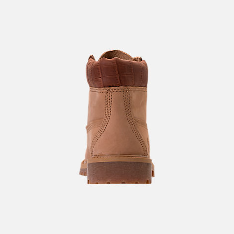 Back view of Boys' Preschool Timberland Pioneer 6-Inch Premium Boots in Iced Coffee Waterbuck