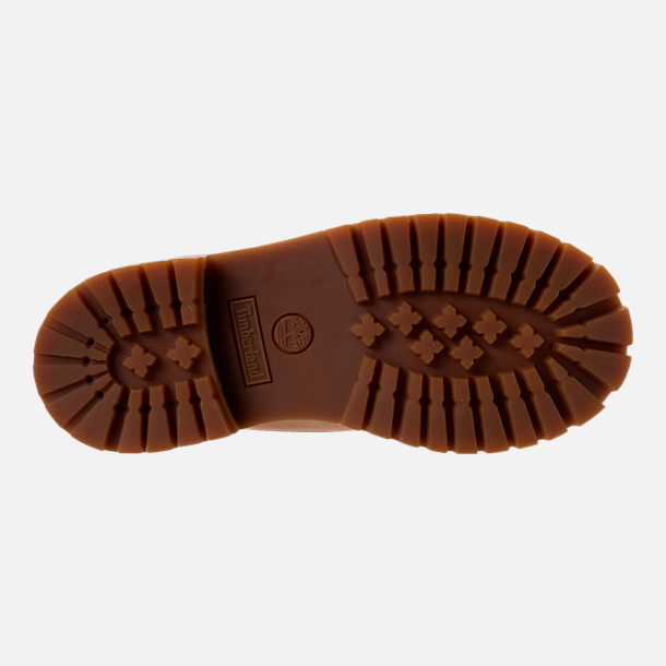 Bottom view of Boys' Preschool Timberland Pioneer 6-Inch Premium Boots in Iced Coffee Waterbuck