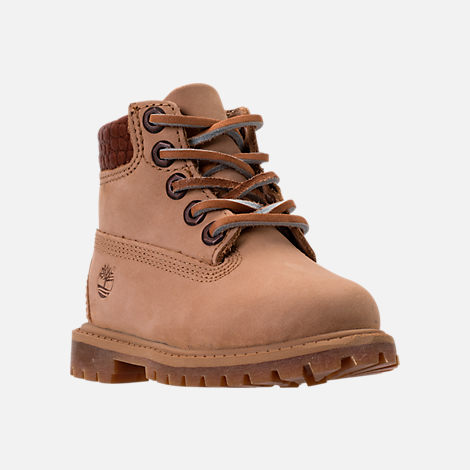 Three Quarter view of Boys' Toddler Timberland Pioneer 6-Inch Premium Boots in Iced Coffee Waterbuck