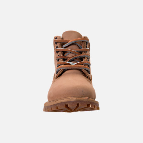 Front view of Boys' Toddler Timberland Pioneer 6-Inch Premium Boots in Iced Coffee Waterbuck