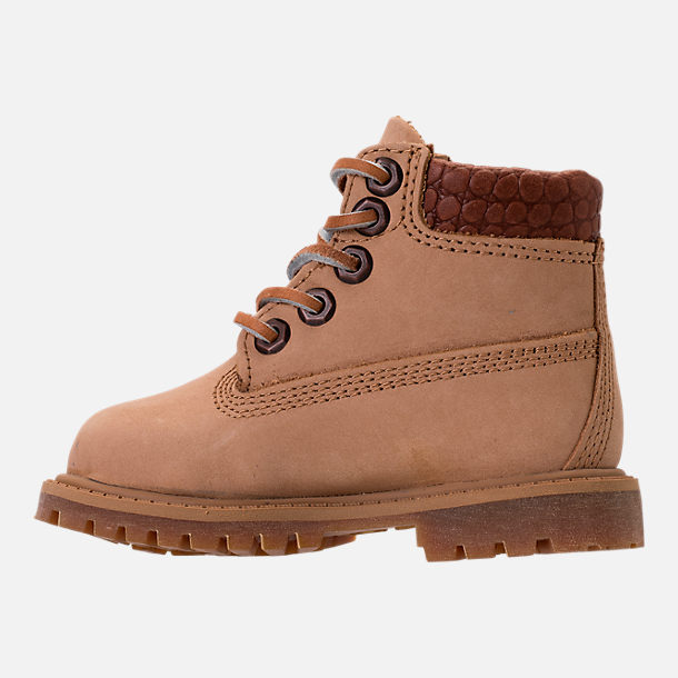 Left view of Boys' Toddler Timberland Pioneer 6-Inch Premium Boots in Iced Coffee Waterbuck