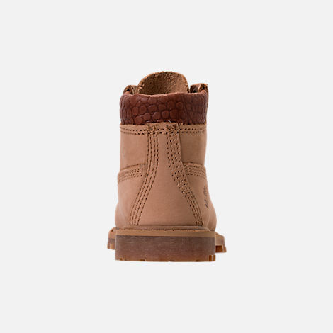 Back view of Boys' Toddler Timberland Pioneer 6-Inch Premium Boots in Iced Coffee Waterbuck