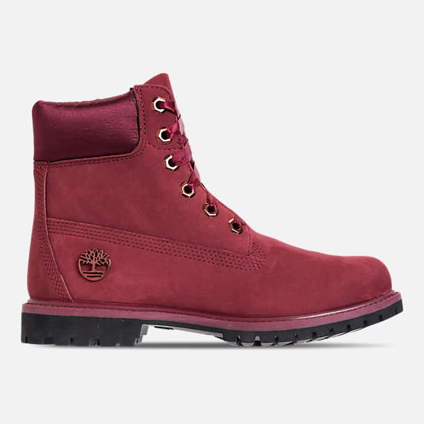 Right view of Women's Timberland 6 Inch Classic Premium Wide Satin Lace Boots in Burgundy Nubuck