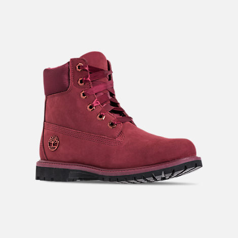 Three Quarter view of Women's Timberland 6 Inch Classic Premium Wide Satin Lace Boots in Burgundy Nubuck