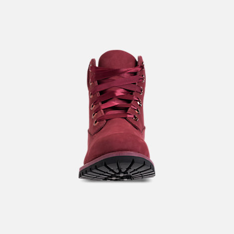 Front view of Women's Timberland 6 Inch Classic Premium Wide Satin Lace Boots in Burgundy Nubuck