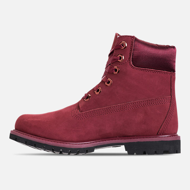 Left view of Women's Timberland 6 Inch Classic Premium Wide Satin Lace Boots in Burgundy Nubuck