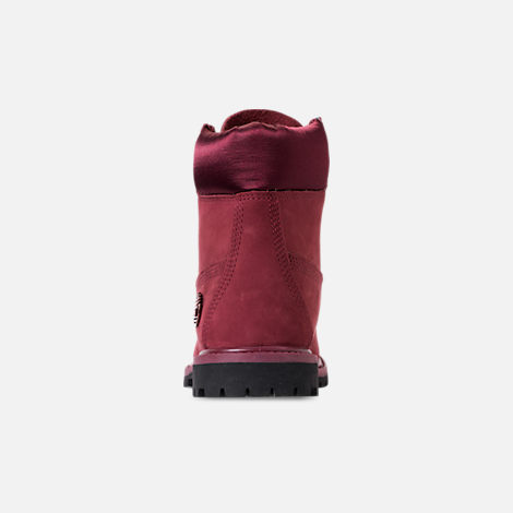 Back view of Women's Timberland 6 Inch Classic Premium Wide Satin Lace Boots in Burgundy Nubuck