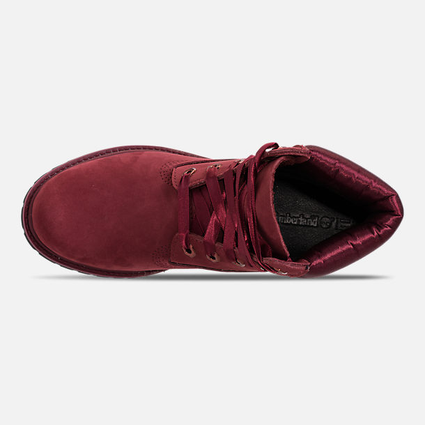 Top view of Women's Timberland 6 Inch Classic Premium Wide Satin Lace Boots in Burgundy Nubuck