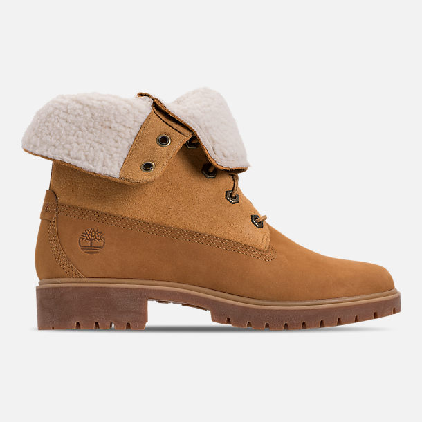 Right view of Women's Timberland Jayne Waterproof Fleece Fold-Down Boots in Wheat Nubuck