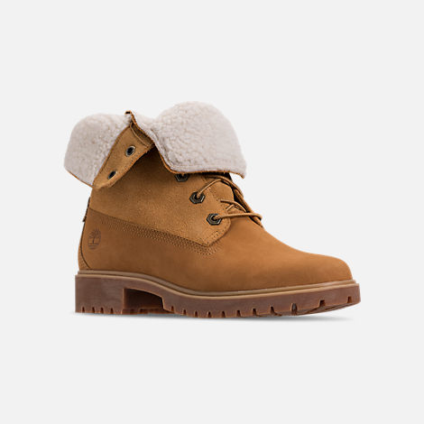 Three Quarter view of Women's Timberland Jayne Waterproof Fleece Fold-Down Boots in Wheat Nubuck