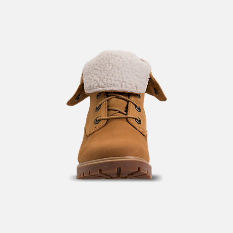 Front view of Women's Timberland Jayne Waterproof Fleece Fold-Down Boots in Wheat Nubuck