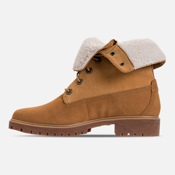 Left view of Women's Timberland Jayne Waterproof Fleece Fold-Down Boots in Wheat Nubuck
