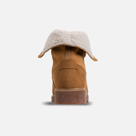 Back view of Women's Timberland Jayne Waterproof Fleece Fold-Down Boots in Wheat Nubuck
