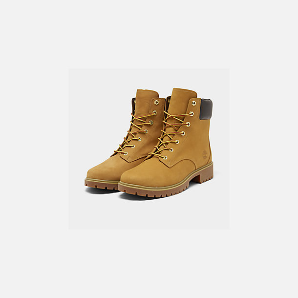 Three Quarter view of Women's Timberland Jayne 6 Inch Waterproof Boots in Wheat Nubuck