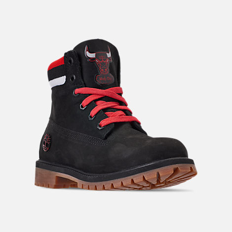 Three Quarter view of Boys' Big Kids' Timberland x Mitchell and Ness x NBA Chicago Bulls 6 Inch Classic Premium Boots in Black/Red - Chicago Bulls
