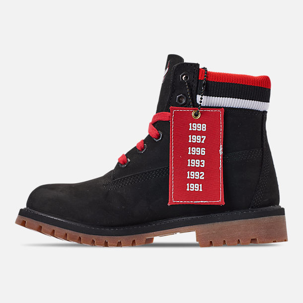 Left view of Boys' Big Kids' Timberland x Mitchell and Ness x NBA Chicago Bulls 6 Inch Classic Premium Boots in Black/Red - Chicago Bulls
