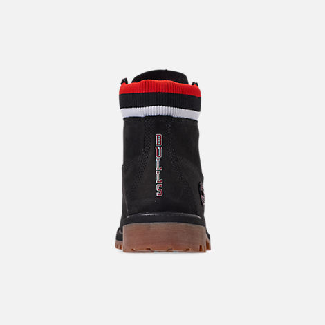 Back view of Boys' Big Kids' Timberland x Mitchell and Ness x NBA Chicago Bulls 6 Inch Classic Premium Boots in Black/Red - Chicago Bulls