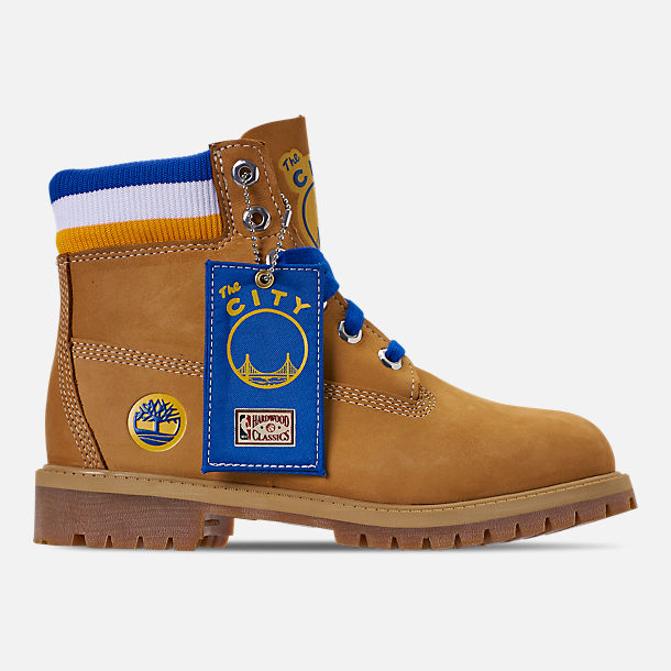 Right view of Boys' Big Kids' Timberland x Mitchell and Ness x NBA Golden State Warriors 6 Inch Classic Premium Boots in Wheat Nubuck/Blue - Golden State Warriors