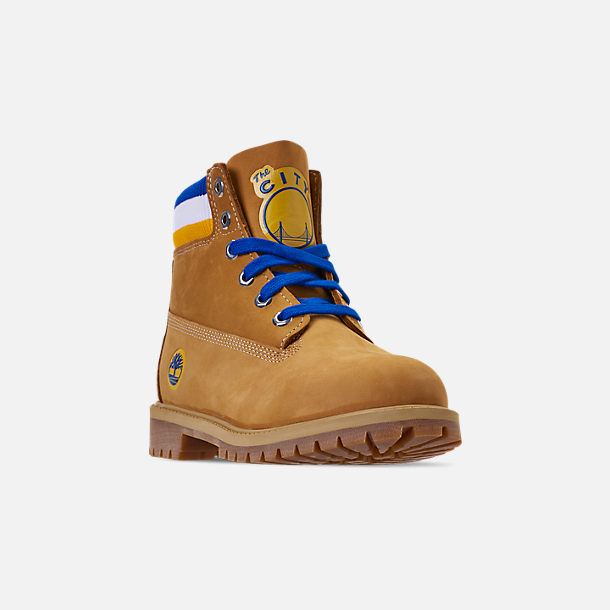 Three Quarter view of Boys' Big Kids' Timberland x Mitchell and Ness x NBA Golden State Warriors 6 Inch Classic Premium Boots in Wheat Nubuck/Blue - Golden State Warriors