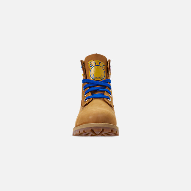 Front view of Boys' Big Kids' Timberland x Mitchell and Ness x NBA Golden State Warriors 6 Inch Classic Premium Boots in Wheat Nubuck/Blue - Golden State Warriors