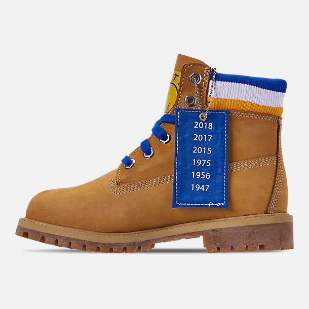 Left view of Boys' Big Kids' Timberland x Mitchell and Ness x NBA Golden State Warriors 6 Inch Classic Premium Boots in Wheat Nubuck/Blue - Golden State Warriors