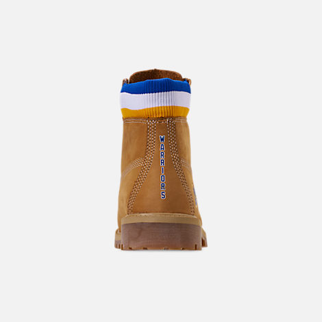 Back view of Boys' Big Kids' Timberland x Mitchell and Ness x NBA Golden State Warriors 6 Inch Classic Premium Boots in Wheat Nubuck/Blue - Golden State Warriors