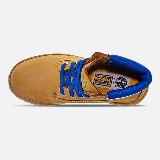 Top view of Boys' Big Kids' Timberland x Mitchell and Ness x NBA Golden State Warriors 6 Inch Classic Premium Boots in Wheat Nubuck/Blue - Golden State Warriors