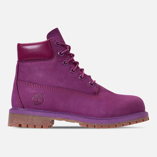 Right view of Girls' Big Kids' Timberland 6 Inch Premium Boots in Bright Purple
