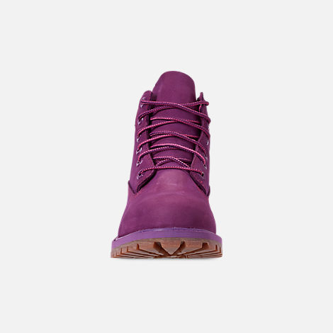 Front view of Girls' Big Kids' Timberland 6 Inch Premium Boots in Bright Purple