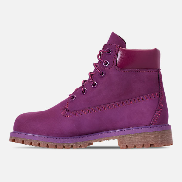 Left view of Girls' Big Kids' Timberland 6 Inch Premium Boots in Bright Purple