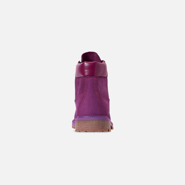 Back view of Girls' Big Kids' Timberland 6 Inch Premium Boots in Bright Purple