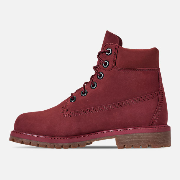 Left view of Boys' Big Kids' Timberland 6-Inch Classic Premium Canvas Boots in Pomagranate
