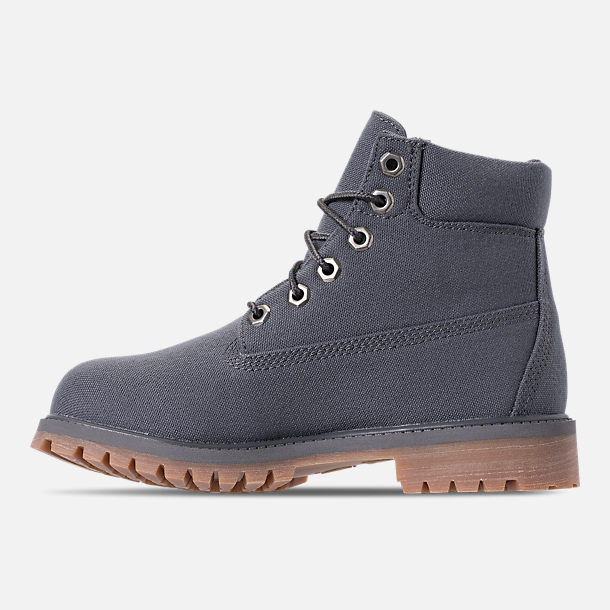 Left view of Boys' Big Kids' Timberland 6-Inch Classic Premium Canvas Boots in Forged Iron Canvas