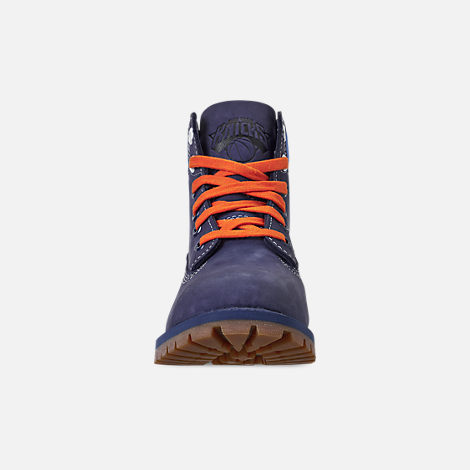 Front view of Boys' Big Kids' Timberland x NBA New York Knicks 6 Inch Classic Premium Boots in New York Knicks