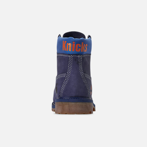 Back view of Boys' Big Kids' Timberland x NBA New York Knicks 6 Inch Classic Premium Boots in New York Knicks