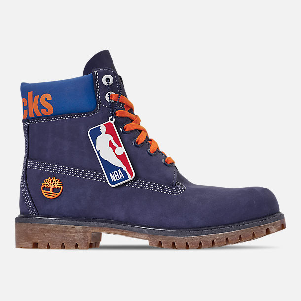Right view of Men s Timberland New York Knicks NBA 6 Inch Classic Premium  Boots in Blue 095b1c8f472