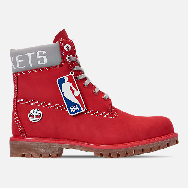 Right view of Men's Timberland Houston Rockets NBA 6 Inch Classic Premium Boots in Red/Rockets