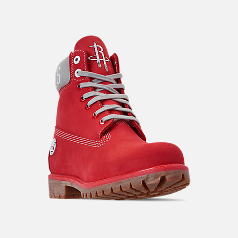 Three Quarter view of Men's Timberland Houston Rockets NBA 6 Inch Classic Premium Boots in Red/Rockets