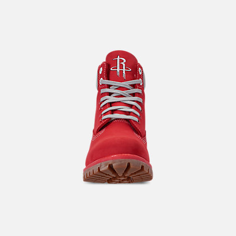 Front view of Men's Timberland Houston Rockets NBA 6 Inch Classic Premium Boots in Red/Rockets