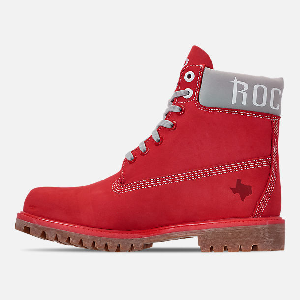 Left view of Men's Timberland Houston Rockets NBA 6 Inch Classic Premium Boots in Red/Rockets
