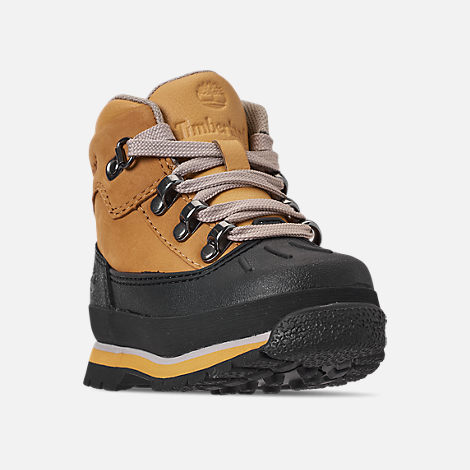 Three Quarter view of Boys' Toddler Timberland Euro Hiker Shell Toe Boots in Wheat Nubuck