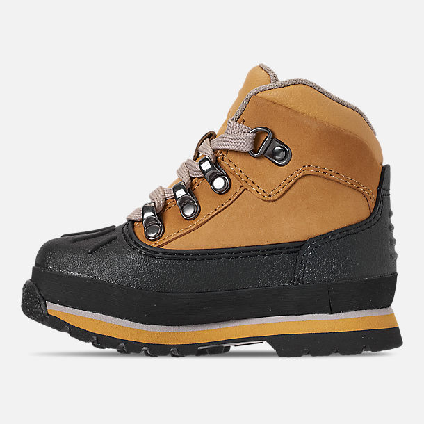 Left view of Boys' Toddler Timberland Euro Hiker Shell Toe Boots in Wheat Nubuck