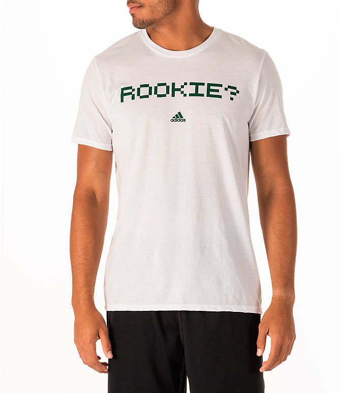 Front view of Men's adidas Rookie Basketball T-Shirt in White