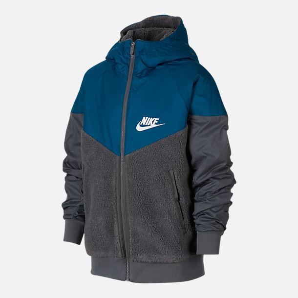 0a4b539eec Front view of Boys  Nike Windrunner Sherpa Full-Zip Jacket in Dark Grey