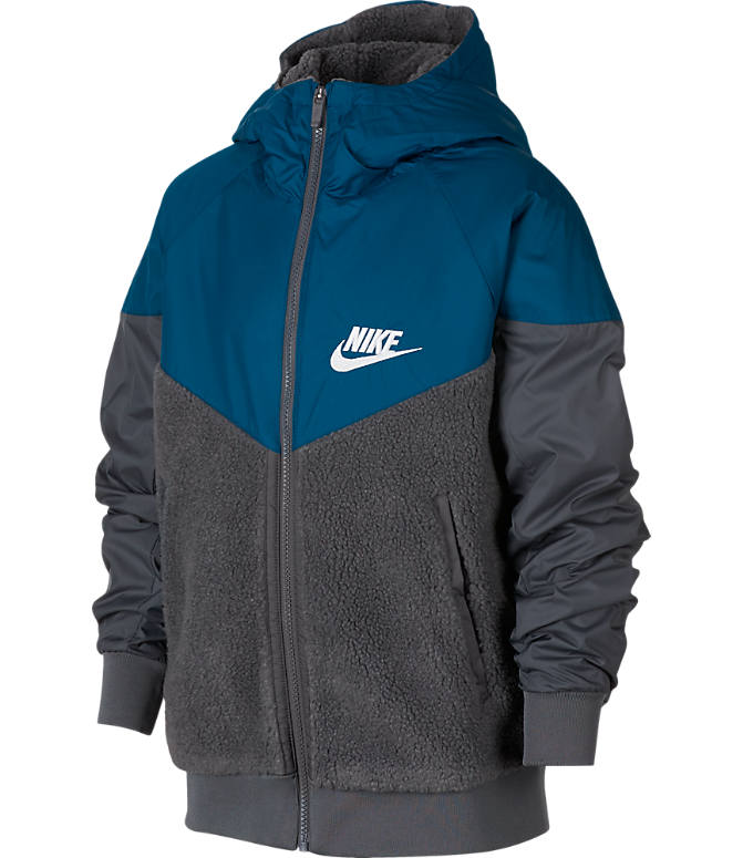 Front view of Boys' Nike Windrunner Sherpa Full-Zip Jacket in Dark Grey/Blue Force