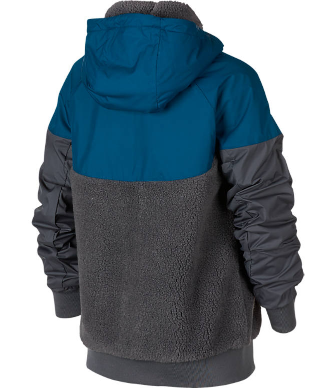 Back view of Boys' Nike Windrunner Sherpa Full-Zip Jacket in Dark Grey/Blue Force