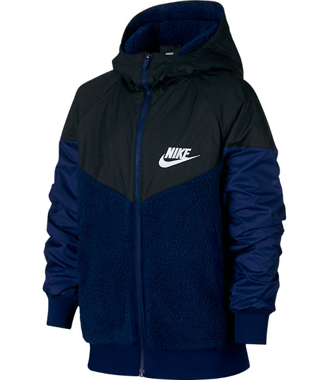 Front view of Boys' Nike Windrunner Sherpa Full-Zip Jacket in Blue Void/Black