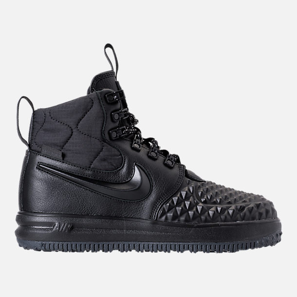 Right view of Women's Nike Lunar Force 1 Duck Boots in Black/Black/White
