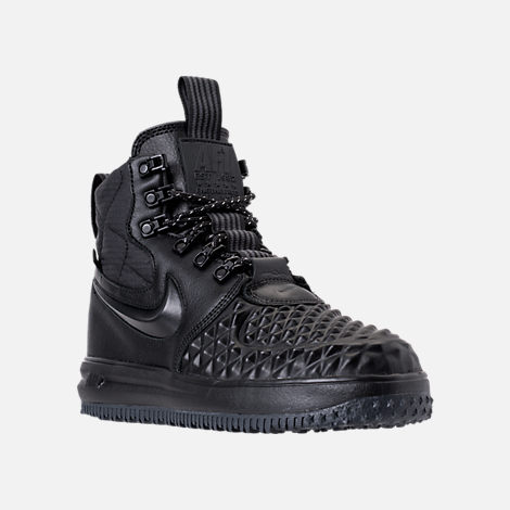 Three Quarter view of Women's Nike Lunar Force 1 Duck Boots in Black/Black/White